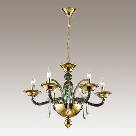 Подвесная люстра Odeon Light Rocca 3926/6, 6xE14x40W, зеленый, золото, прозрачный, металл, стекло, хрусталь