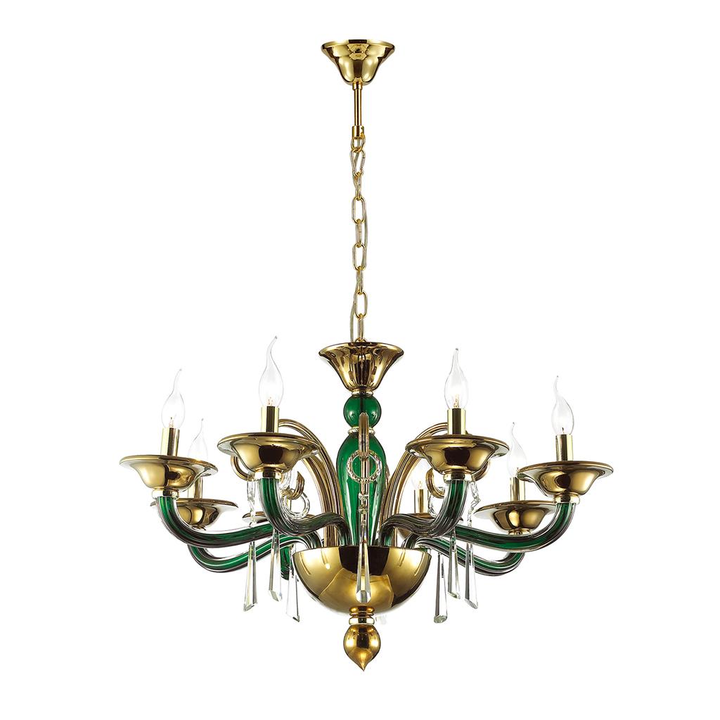 Подвесная люстра Odeon Light Rocca 3926/8, 8xE14x40W, зеленый, золото, прозрачный, металл, стекло, хрусталь - фото 1