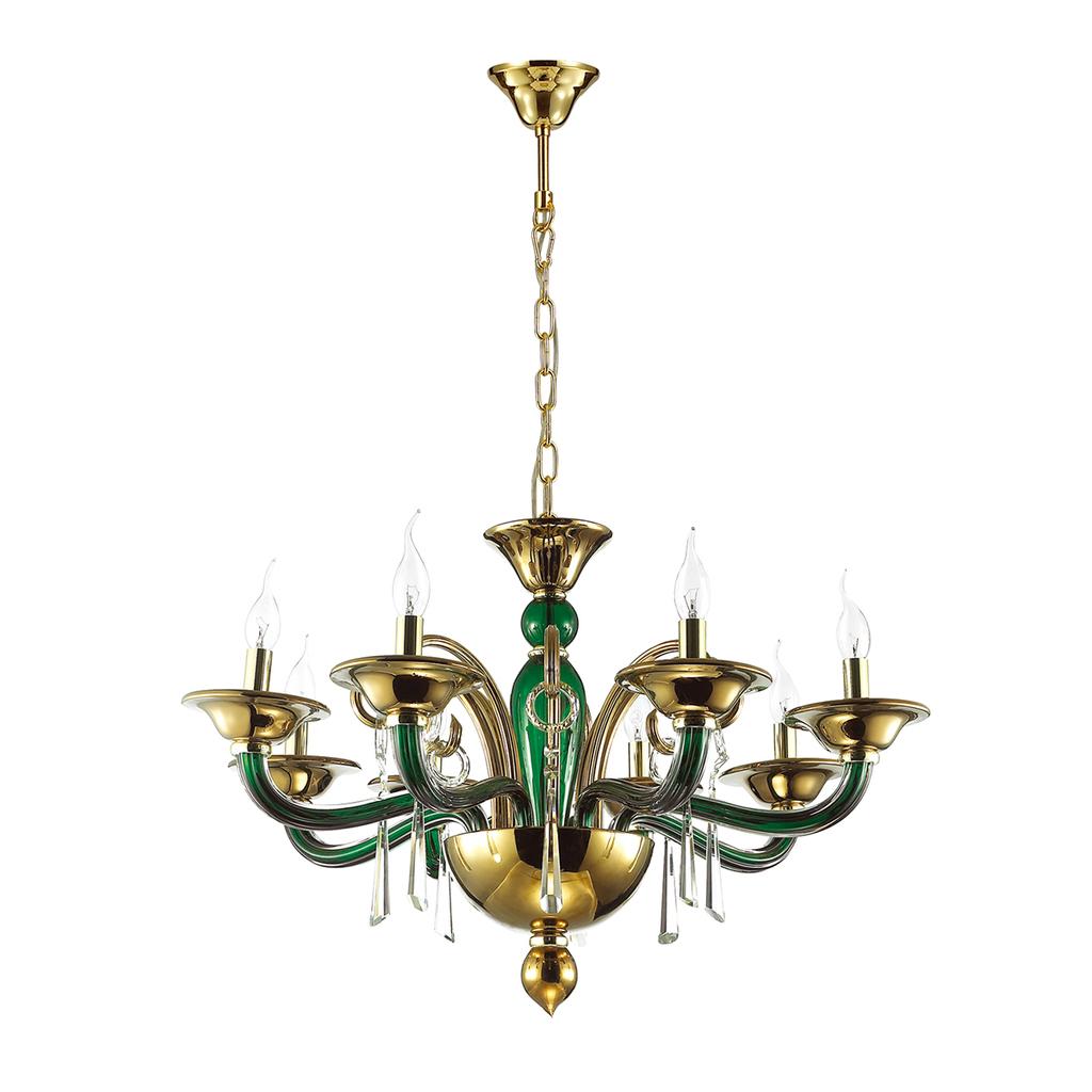 Подвесная люстра Odeon Light Rocca 3926/8, 8xE14x40W, зеленый, золото, прозрачный, металл, стекло, хрусталь - фото 2