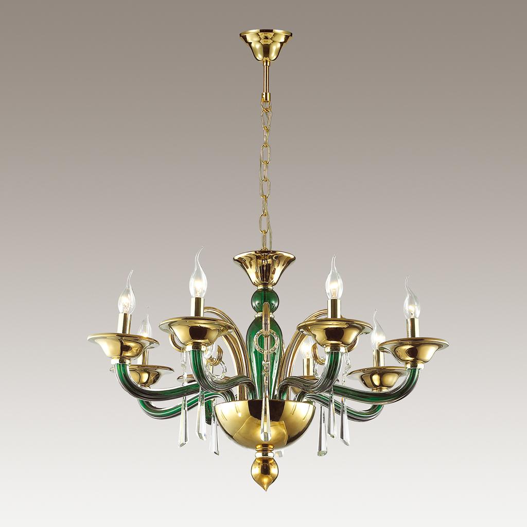 Подвесная люстра Odeon Light Rocca 3926/8, 8xE14x40W, зеленый, золото, прозрачный, металл, стекло, хрусталь - фото 3