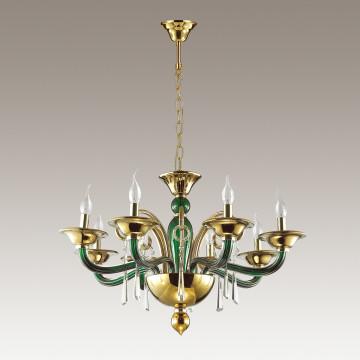 Подвесная люстра Odeon Light Rocca 3926/8, 8xE14x40W, зеленый, золото, прозрачный, металл, стекло, хрусталь - миниатюра 4