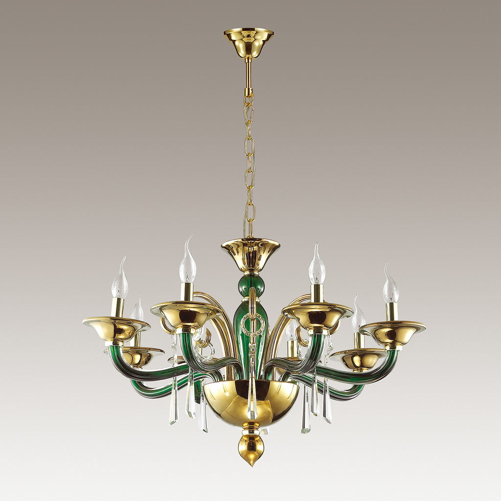 Подвесная люстра Odeon Light Rocca 3926/8, 8xE14x40W, зеленый, золото, прозрачный, металл, стекло, хрусталь - фото 4