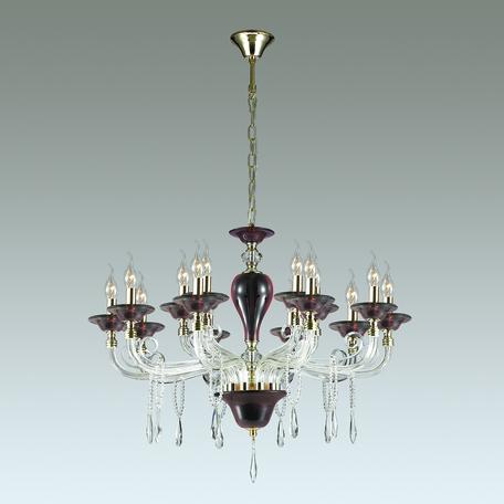 Подвесная люстра Odeon Light Amarone 3928/15, 15xE14x40W, бордовый, золото, прозрачный, металл, стекло, хрусталь