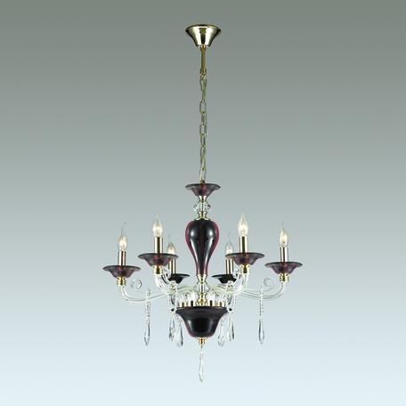Подвесная люстра Odeon Light Amarone 3928/6, 6xE14x40W, бордовый, золото, прозрачный, металл, стекло, хрусталь