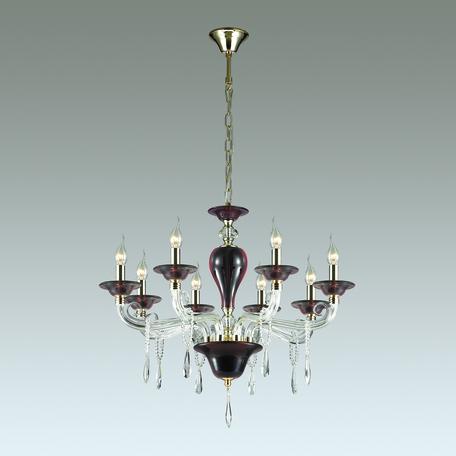 Подвесная люстра Odeon Light Amarone 3928/8, 8xE14x40W, бордовый, золото, прозрачный, металл, стекло, хрусталь