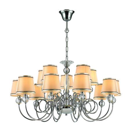 Подвесная люстра Odeon Light Molinari 3945/15, 15xE14x40W, прозрачный, хром, бежевый, металл, стекло, текстиль