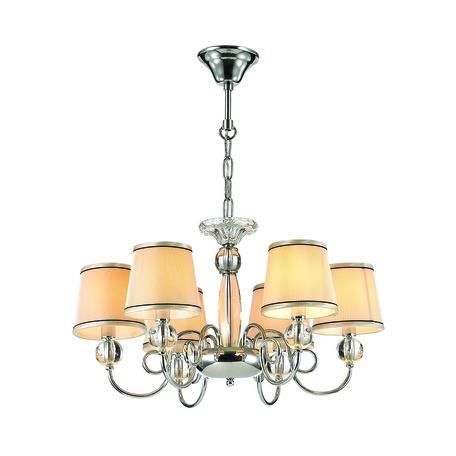 Подвесная люстра Odeon Light Molinari 3945/6, 6xE14x40W, хром, бежевый, металл со стеклом/хрусталем, текстиль