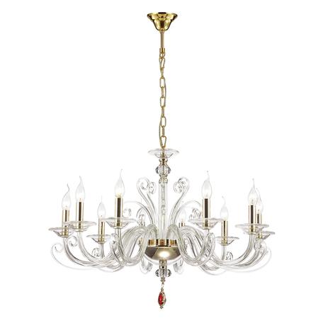 Подвесная люстра Odeon Light Favola 3949/10, 10xE14x40W, золото, прозрачный, красный, металл, стекло, хрусталь