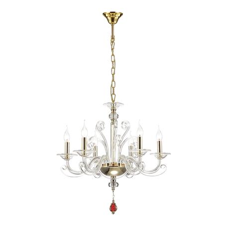 Подвесная люстра Odeon Light Favola 3949/6, 6xE14x40W, золото, прозрачный, красный, металл, стекло, хрусталь