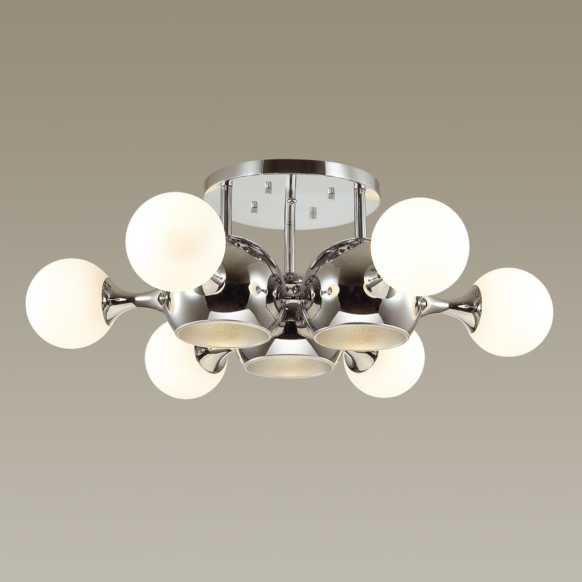 Потолочная люстра Odeon Light Modern Miolla 3972/9C, 6xE14x40W + 3xE27x60W, хром, белый, металл, стекло - фото 2