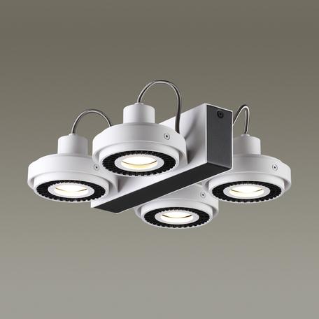 Потолочная люстра с регулировкой направления света Odeon Light Satelium 3490/4C, 4xGU10x50W, белый, черный, металл
