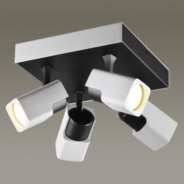 Потолочная люстра с регулировкой направления света Odeon Light Daravis 3491/4CA, 4xGU10x50W, белый, черный, металл