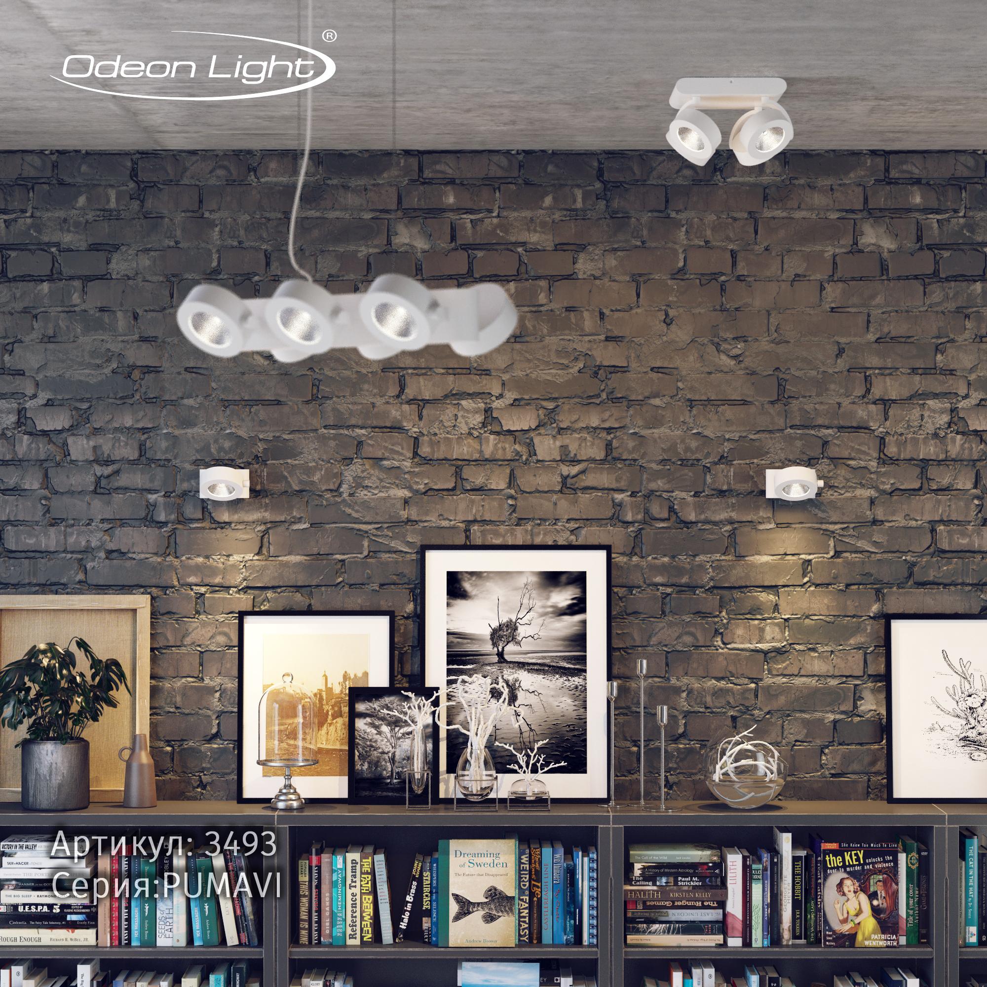 Потолочная светодиодная люстра с регулировкой направления света Odeon Light Pumavi 3493/40CL, LED 40W, 3000K (теплый), белый, металл - фото 2