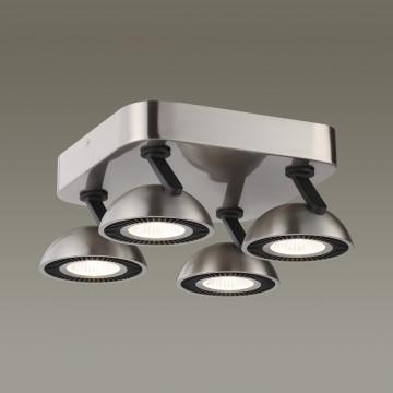 Потолочная светодиодная люстра с регулировкой направления света Odeon Light Karima 3535/4CL 3000K (теплый), никель, черный, металл