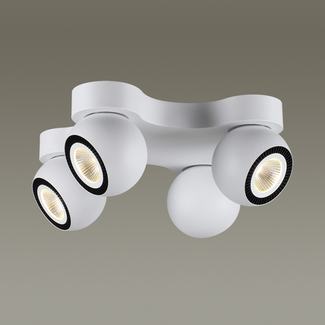 Потолочная светодиодная люстра с регулировкой направления света Odeon Light Urfina 3536/4CL, LED 40W, 3000K (теплый), белый, черный, металл