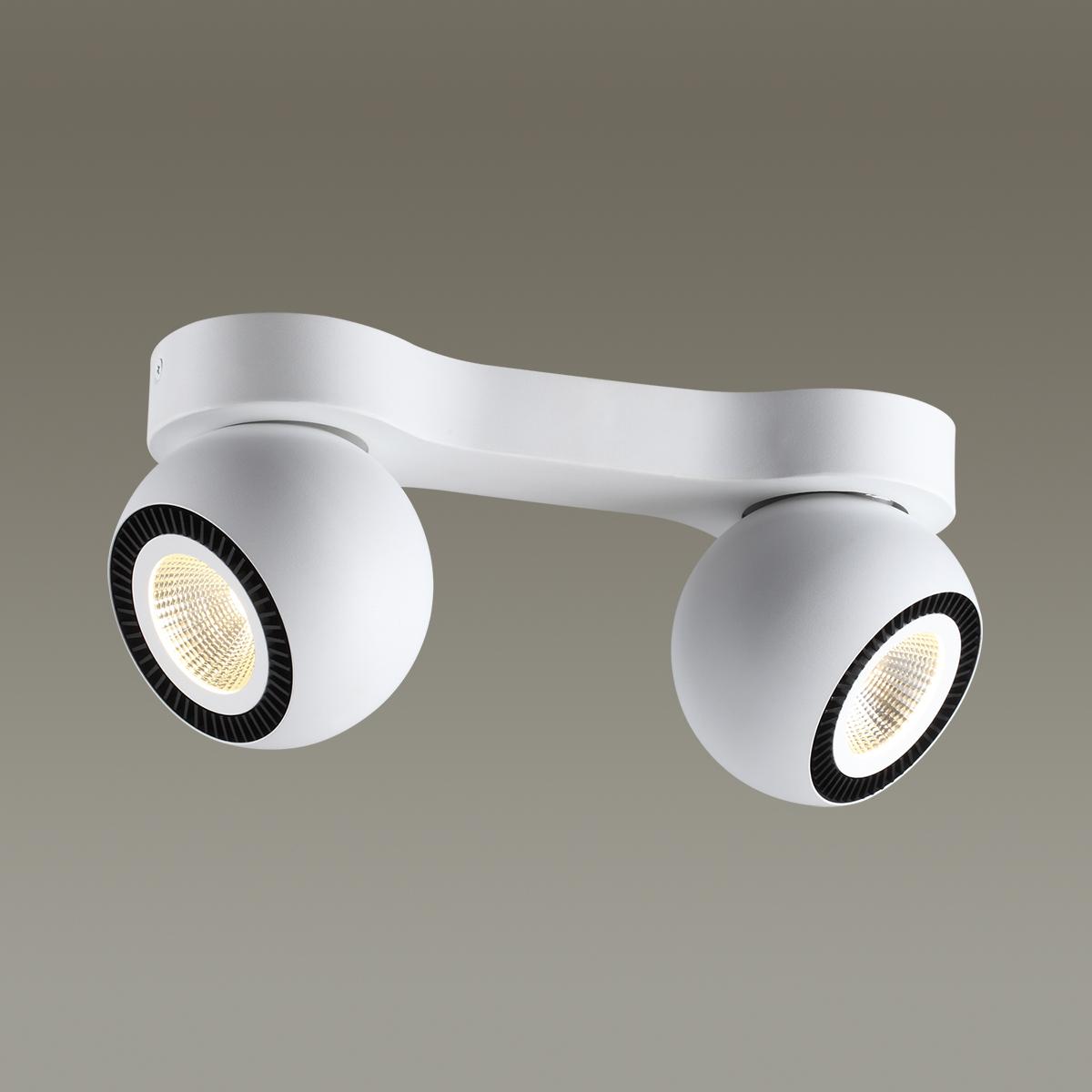 Потолочный светодиодный светильник с регулировкой направления света Odeon Light Urfina 3536/2CL, LED 20W, 3000K (теплый), белый, черный, металл - фото 1