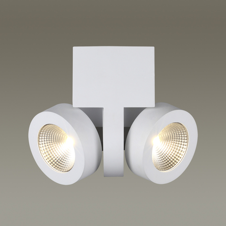 Потолочный светодиодный светильник с регулировкой направления света Odeon Light Laconis 3538/2LC, LED 20W, 3000K (теплый), белый, металл