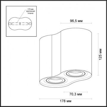 Потолочный светильник Odeon Light Pillaron 3565/2C, 2xGU10x50W, черный, металл - миниатюра 2