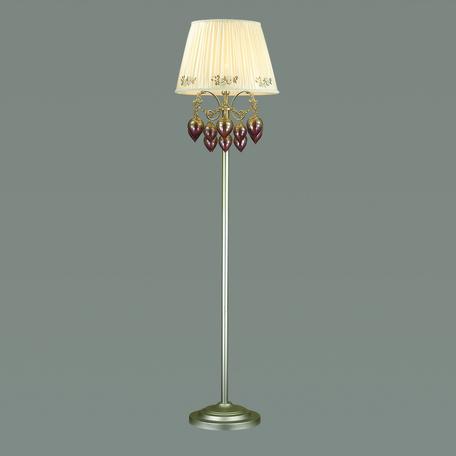 Торшер Odeon Light Adriana 3922/1F, 1xE14x40W, серебро, бежевый, коньячный, розовый, металл, текстиль, стекло