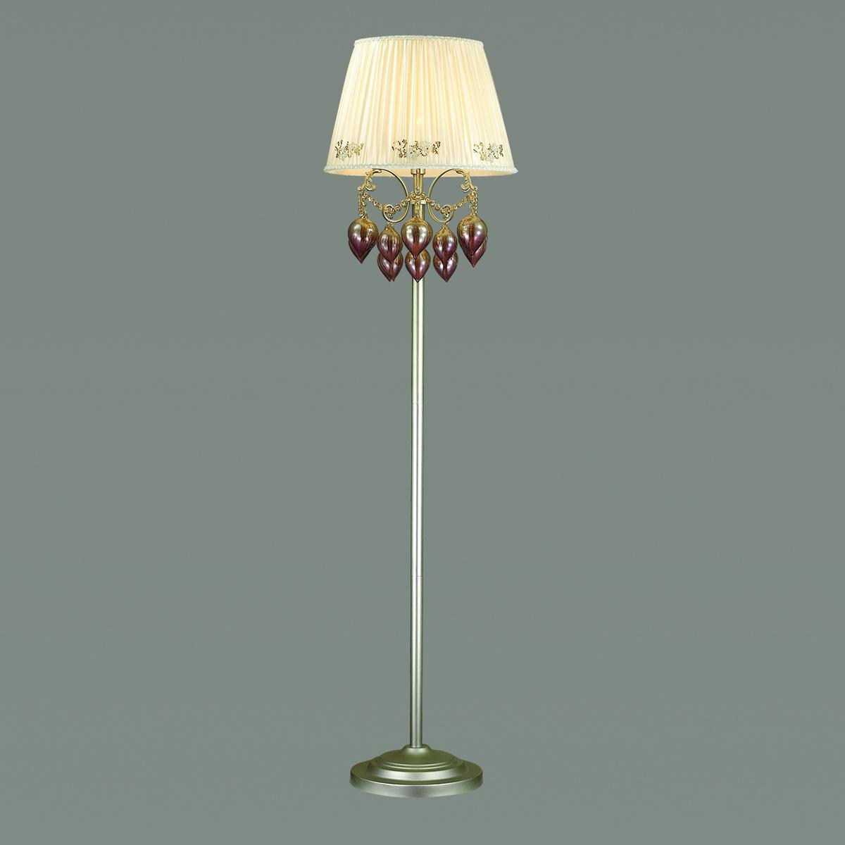 Торшер Odeon Light Adriana 3922/1F, 1xE14x40W, серебро, бежевый, коньячный, розовый, металл, текстиль, стекло - фото 1
