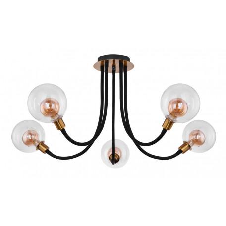 Потолочная светодиодная люстра Globo Eddy 56010-5D, LED 3,5W, черный с золотом, прозрачный, металл, стекло