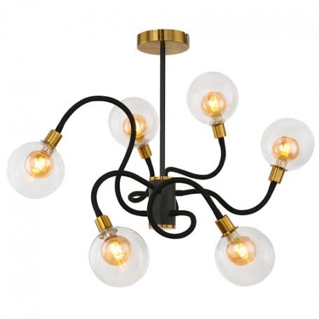 Потолочная светодиодная люстра Globo Eddy 56010-6, LED 3,5W, черный с золотом, прозрачный, металл, стекло