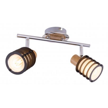 Потолочный светильник с регулировкой направления света Globo Vici 54816-2, 2xE14x40W, хром, коричневый, металл с деревом, стекло