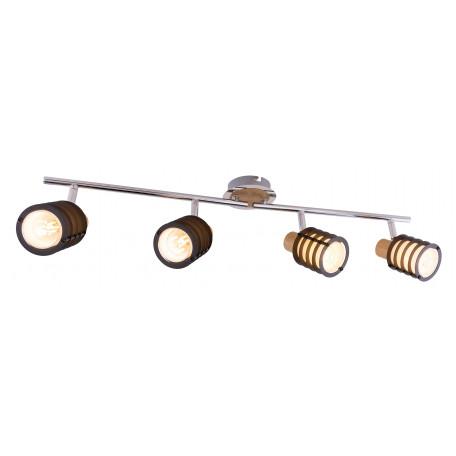 Потолочный светильник с регулировкой направления света Globo Vici 54816-4, 4xE14x40W, хром, коричневый, металл с деревом, стекло