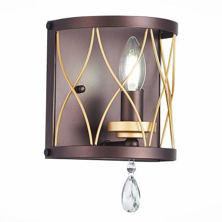 Настенный светильник ST Luce Grassо SL789.421.01, 1xE14x60W, коричневый, прозрачный, металл, ковка, хрусталь