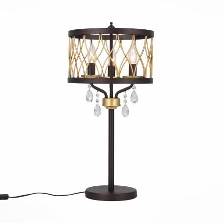 Настольная лампа ST Luce Grassо SL789.424.03, 3xE14x60W, коричневый, прозрачный, металл, ковка, хрусталь