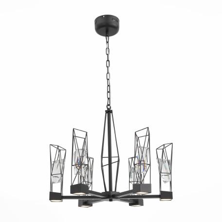 Подвесная светодиодная люстра ST Luce Progetto SL815.303.06, LED 48W 4000K, серый, металл, металл с хрусталем