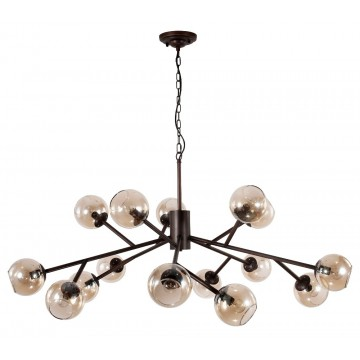 Потолочно-подвесная люстра Crystal Lux BUENO SP-PL15 1280/315, 15xE14x60W, коричневый, янтарь, металл, стекло