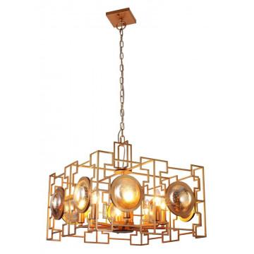 Подвесная люстра Crystal Lux CUENTO SP8 GOLD 1490/208, 8xE14x60W, матовое золото, металл, металл со стеклом
