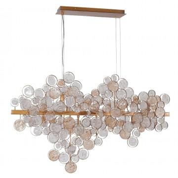 Подвесной светильник Crystal Lux DESEO SP12 L1000 GOLD 1560/212, 12xG9x60W, матовое золото, янтарь, металл, стекло