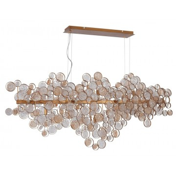 Подвесной светильник Crystal Lux DESEO SP15 L1400 GOLD 1560/215, 15xG9x60W, матовое золото, янтарь, металл, стекло