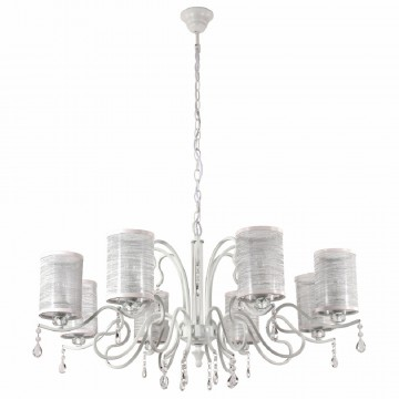 Подвесная люстра Crystal Lux ELISA WHITE SP8 1631/308, 8xE14x60W, белый, прозрачный, металл, текстиль, хрусталь