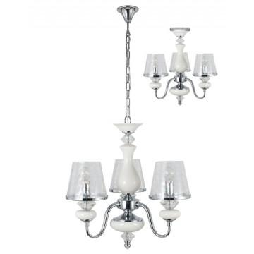 Потолочно-подвесная люстра Crystal Lux BETIS SP-PL3 1210/303, 3xE14x60W, белый, хром, прозрачный, металл, керамика, стекло