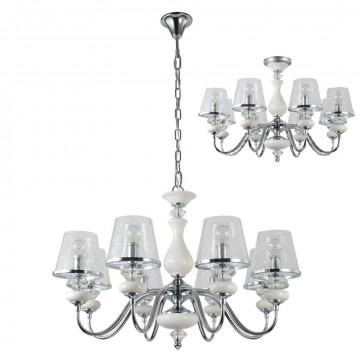 Потолочно-подвесная люстра Crystal Lux BETIS SP-PL8 1210/308, 8xE14x60W, белый, хром, прозрачный, металл, керамика, стекло