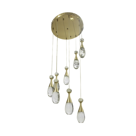 Светодиодная люстра-каскад Kink Light Флакон 08548(3000К), LED 48W 3000K 3360lm CRI>80, золото, прозрачный, металл со стеклом, стекло