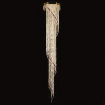 Люстра-каскад Artglass SPIRAL 400x2300 RED CE, 12xE14x40W, хрусталь Asfour
