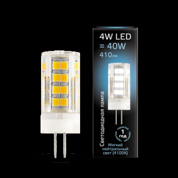 Светодиодная лампа Gauss 107307204 JC G4 4W 410lm 4100K (холодный) CRI>90 185-265V, недиммируемая, гарантия 1 год
