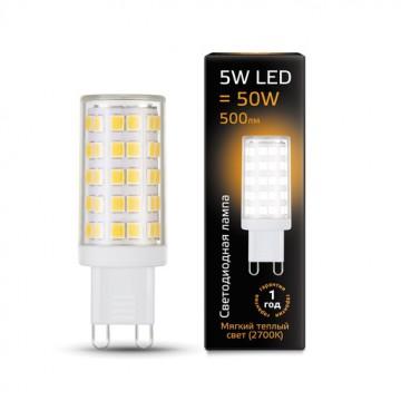 Светодиодная лампа Gauss 107309105 JC G9 5W 500lm 2700K (теплый) CRI>90 185-265V, недиммируемая, гарантия 1 год