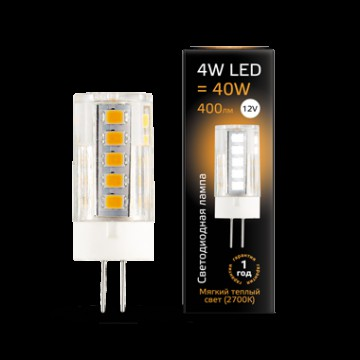 Светодиодная лампа Gauss 207307104 JC G4 4W 400lm 2700K (теплый) CRI>90 12V, недиммируемая, гарантия 1 год