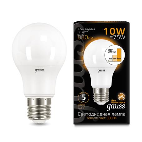 Светодиодная лампа Gauss 102502110-S груша E27 10W, 2700K (теплый) CRI>90 150-265V, диммируемая, гарантия 5 лет
