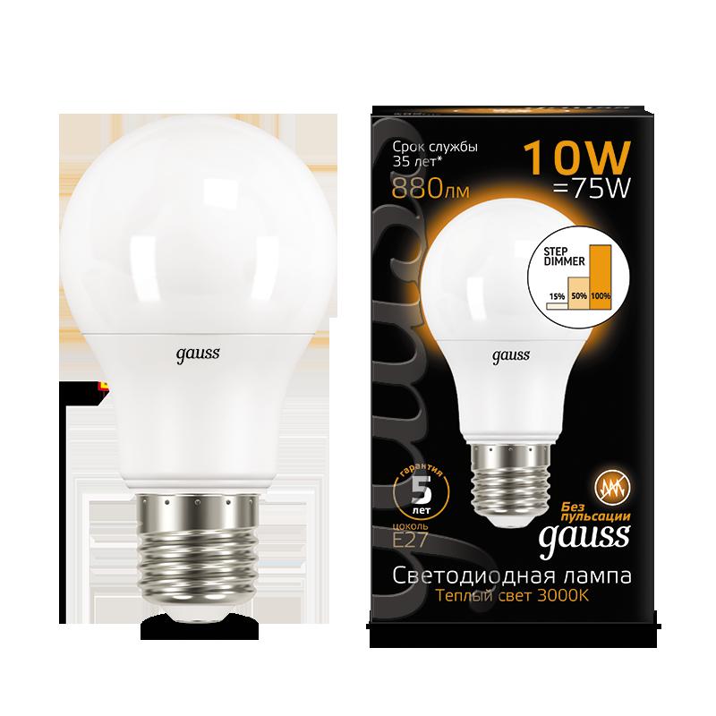 Светодиодная лампа Gauss 102502110-S груша E27 10W, 2700K (теплый) CRI>90 150-265V, диммируемая, гарантия 5 лет - фото 1