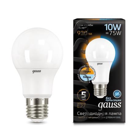 Светодиодная лампа Gauss 102502110-T груша E27 10W CRI>90 185-240V, диммируемая, гарантия 5 лет