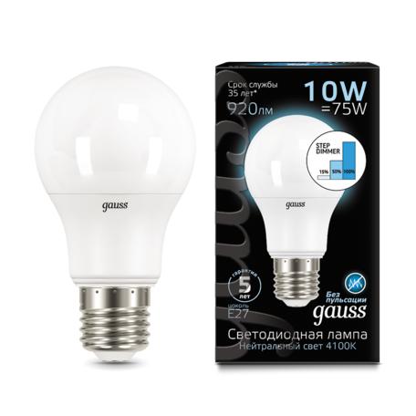 Светодиодная лампа Gauss 102502210-S груша E27 10W, 4100K (холодный) CRI>90 150-265V, диммируемая, гарантия 5 лет