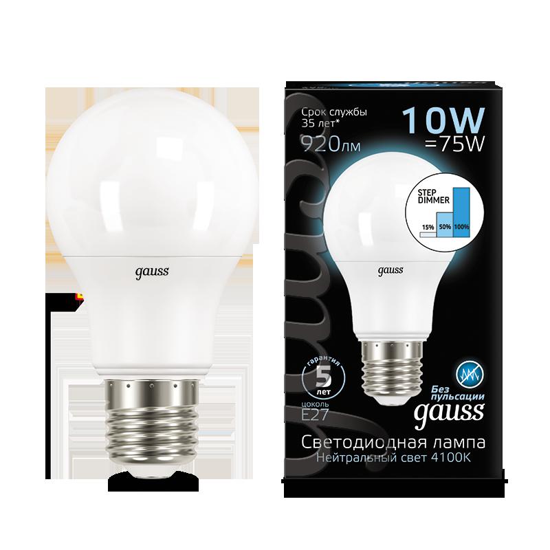 Светодиодная лампа Gauss 102502210-S груша E27 10W, 4100K (холодный) CRI>90 150-265V, диммируемая, гарантия 5 лет - фото 1