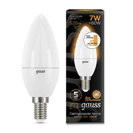 Светодиодная лампа Gauss 103101107-S свеча E14 7W, 3000K (теплый) CRI>90 150-265V, диммируемая, гарантия 5 лет