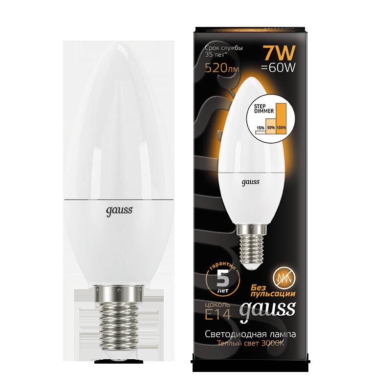 Светодиодная лампа Gauss 103101107-S свеча E14 7W, 3000K (теплый) CRI>90 150-265V, диммируемая, гарантия 5 лет - фото 1